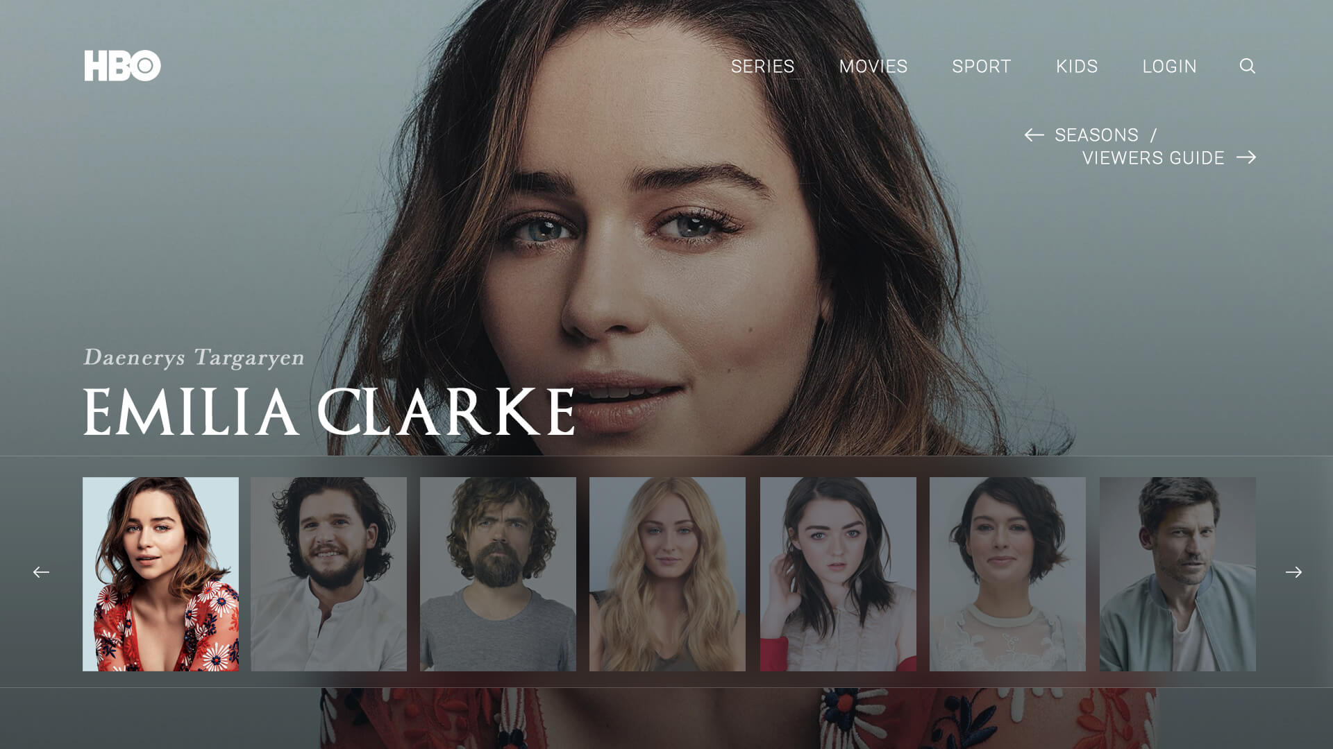 HBO Game of Thrones Web Design - by Ben Scales